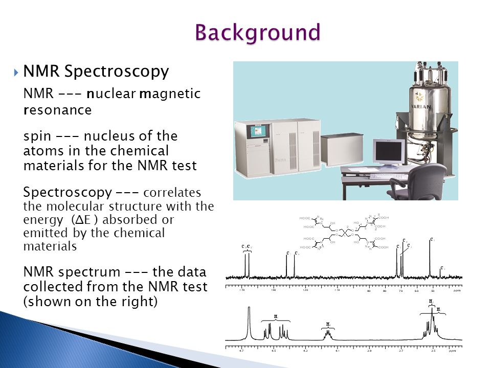 Background  NMR Spectroscopy NMR --- nuclear magnetic resonance spin --- nucleus of the atoms in the chemical materials for the NMR test Spectroscopy