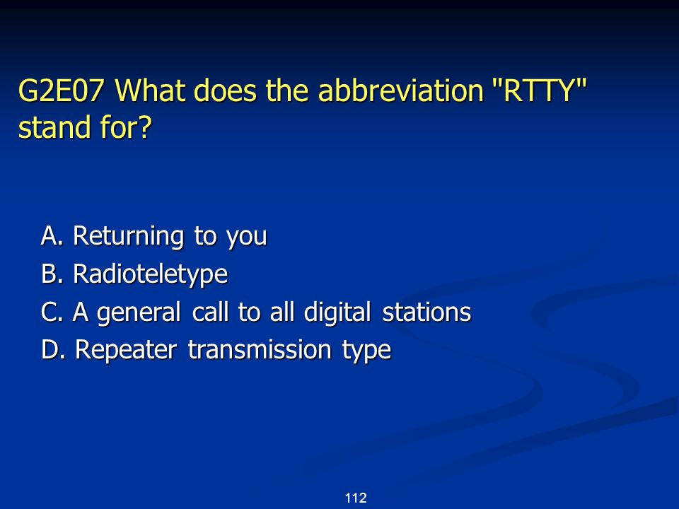 112 G2E07 What does the abbreviation