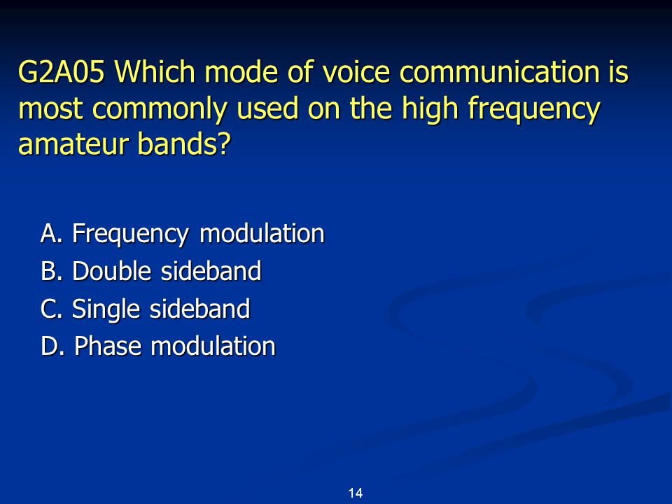 14 G2A05 Which mode of voice communication is most commonly used on the high frequency amateur bands.