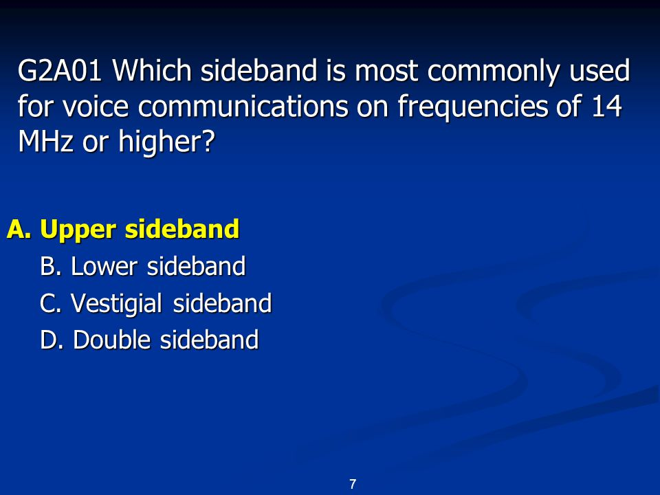 8 G2A02 Which of the following modes is most commonly used for voice communications on the 160, 75, and 40 meter bands.