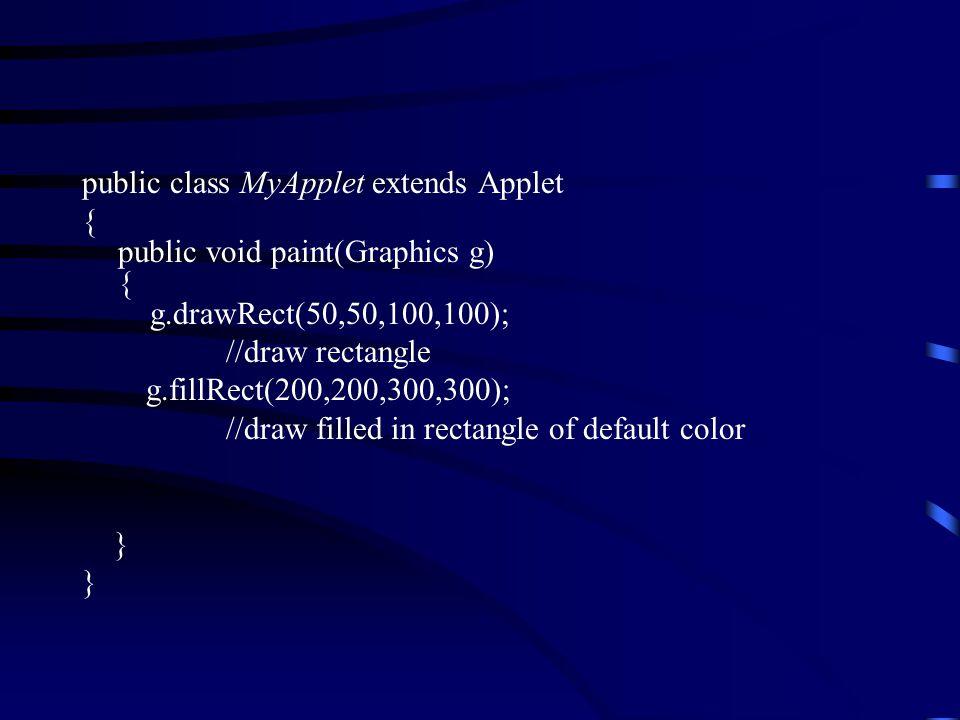 public class MyApplet extends Applet { public void paint(Graphics g) { g.drawRect(50,50,100,100); //draw rectangle g.fillRect(200,200,300,300); //draw