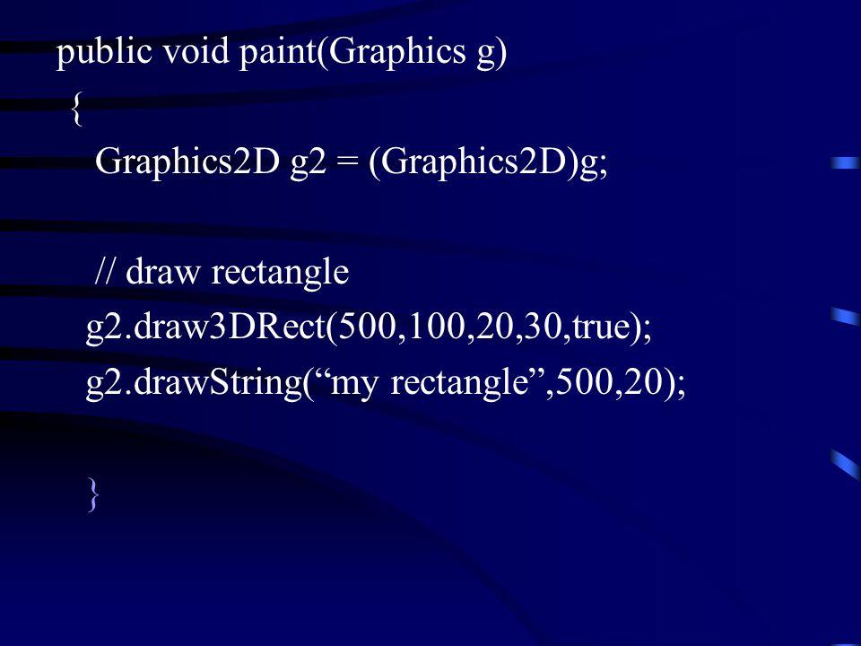 public void paint(Graphics g) { Graphics2D g2 = (Graphics2D)g; // draw rectangle g2.draw3DRect(500,100,20,30,true); g2.drawString( my rectangle ,500,20); }