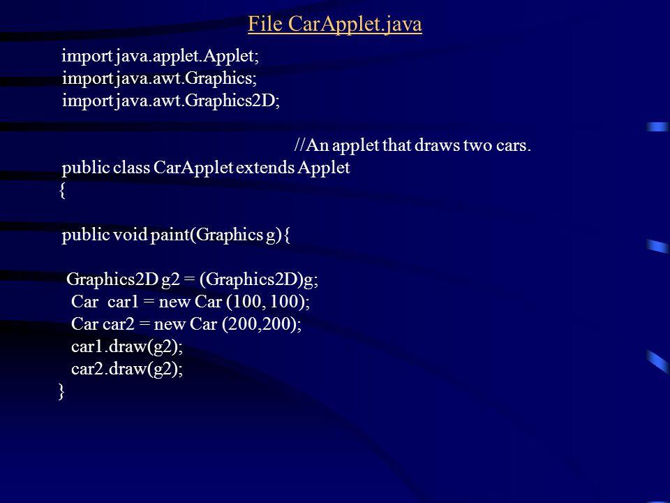 File CarApplet.java import java.applet.Applet; import java.awt.Graphics; import java.awt.Graphics2D; //An applet that draws two cars.