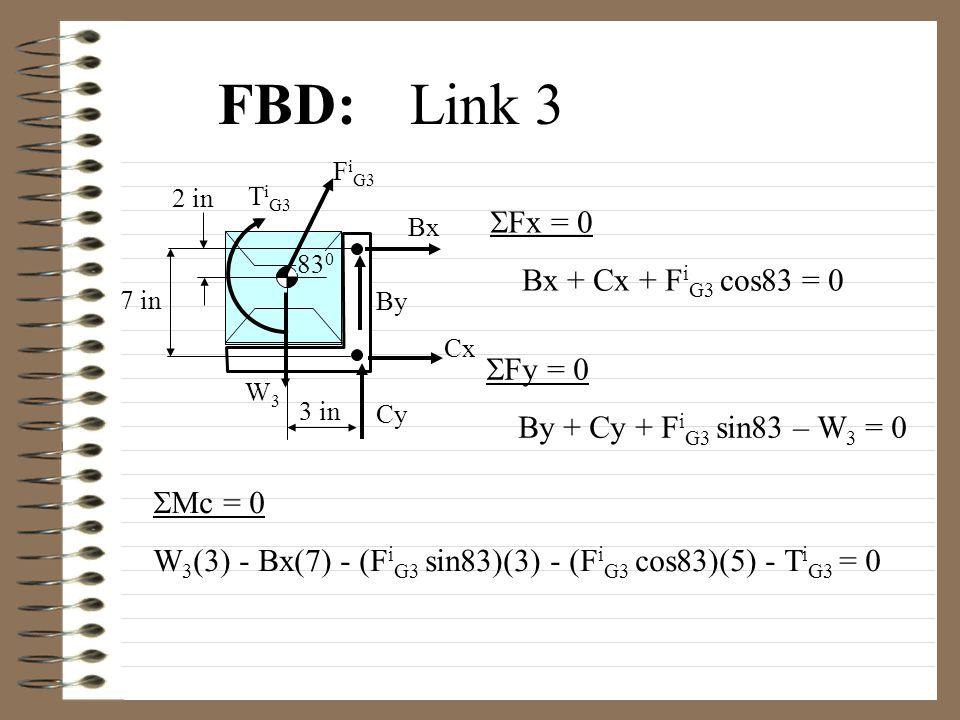 FBD:Link 3 Bx Cx F i G3 3 in 7 in 2 in Cy By T i G3 W3W3 83 0  Fx = 0 Bx + Cx + F i G3 cos83 = 0  Fy = 0 By + Cy + F i G3 sin83 – W 3 = 0  c = 0 W 3 (3) - Bx(7) - (F i G3 sin83)(3) - (F i G3 cos83)(5) - T i G3 = 0