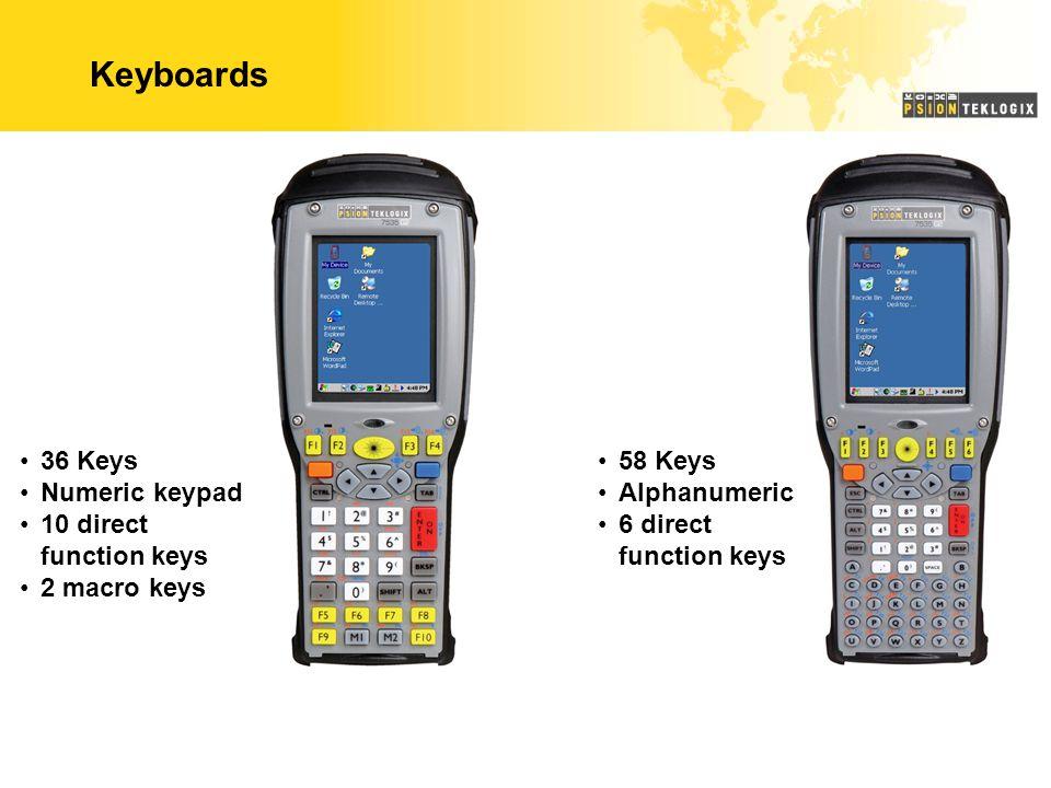 Keyboards 36 Keys Numeric keypad 10 direct function keys 2 macro keys 58 Keys Alphanumeric 6 direct function keys