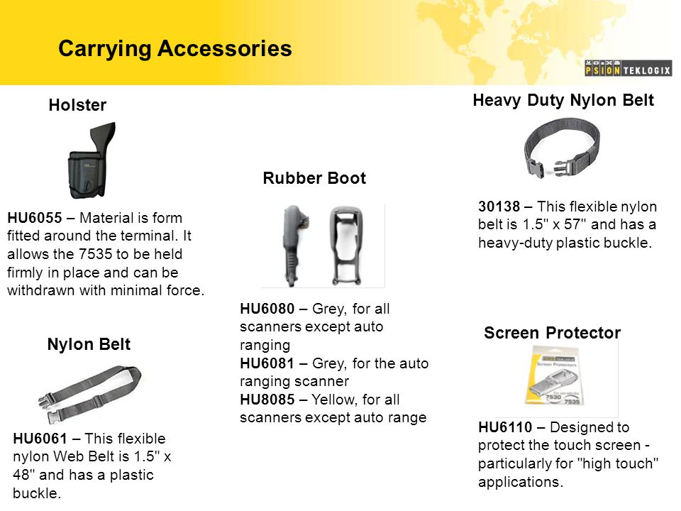 Carrying Accessories Holster HU6055 – Material is form fitted around the terminal. It allows the 7535 to be held firmly in place and can be withdrawn
