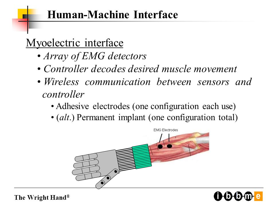 Human-Machine Interface Myoelectric interface Array of EMG detectors Controller decodes desired muscle movement Wireless communication between sensors and controller Adhesive electrodes (one configuration each use) (alt.) Permanent implant (one configuration total) The Wright Hand ®