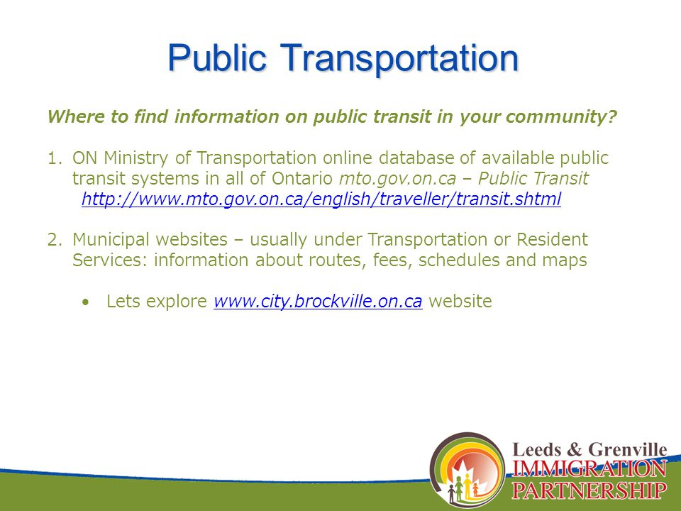 Where to find information on public transit in your community.