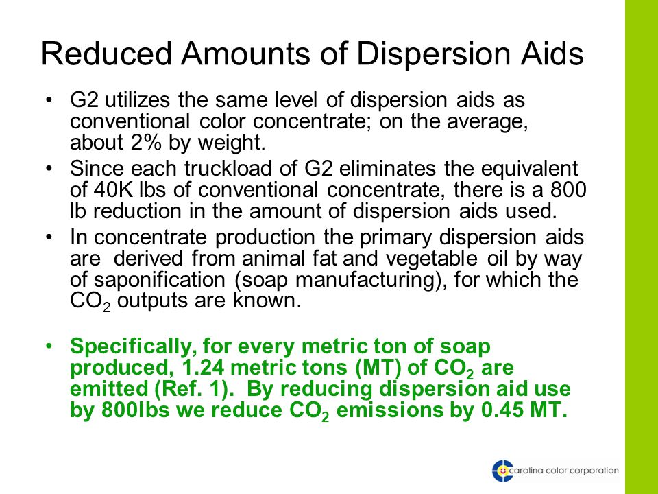 Reduced Amounts of Dispersion Aids G2 utilizes the same level of dispersion aids as conventional color concentrate; on the average, about 2% by weight.
