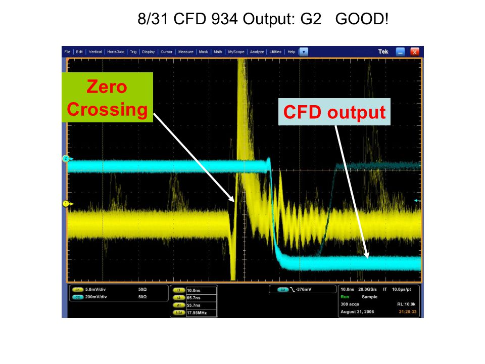 8/31 CFD 934 Output: G2 GOOD! Zero Crossing CFD output