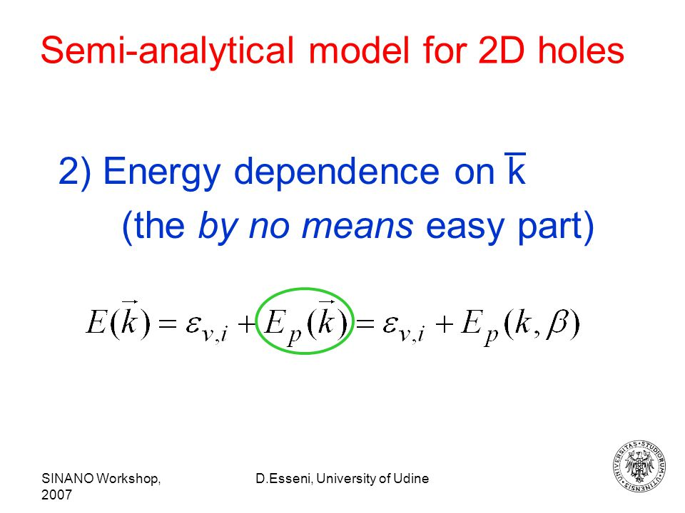 SINANO Workshop, 2007 D.Esseni, University of Udine Semi-analytical model for 2D holes 2) Energy dependence on k (the by no means easy part)