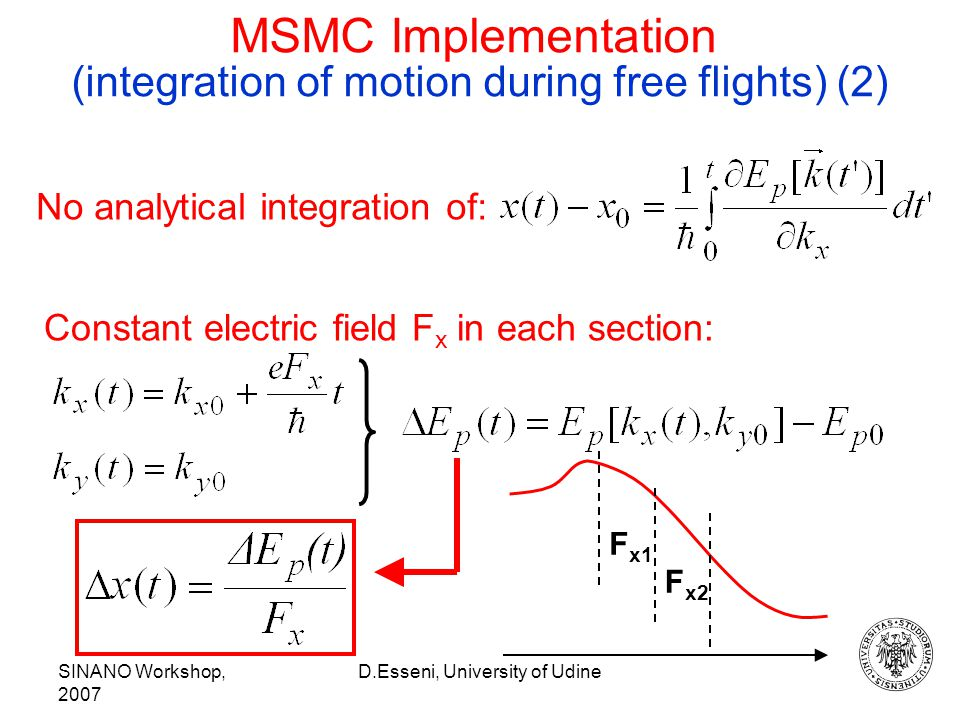 SINANO Workshop, 2007 D.Esseni, University of Udine MSMC Implementation (integration of motion during free flights) (2) Constant electric field F x in each section: F x1 F x2 No analytical integration of: