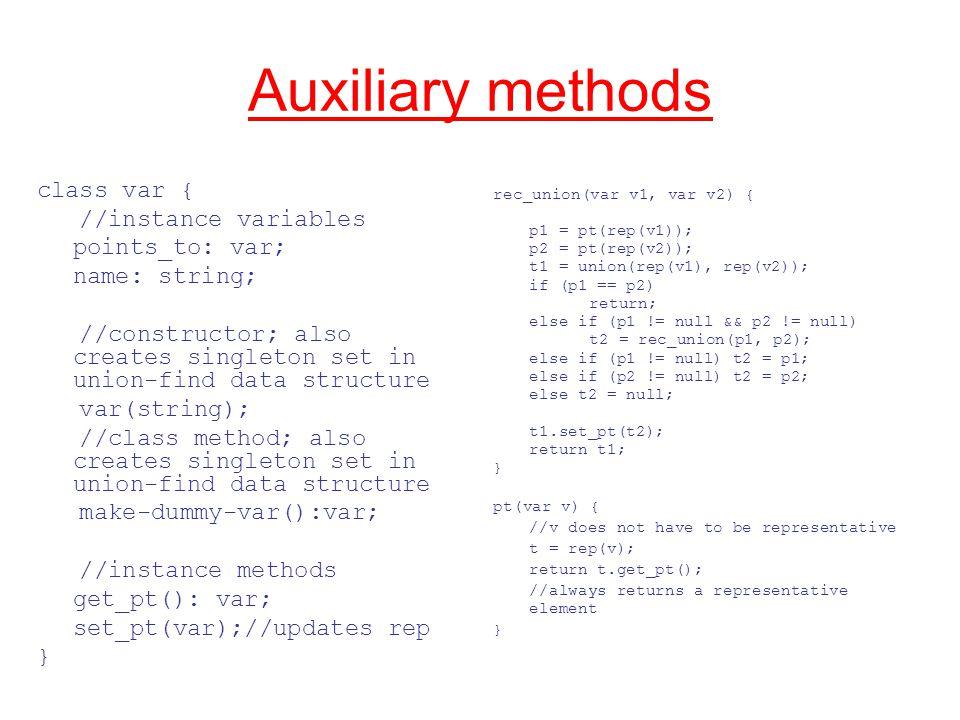 Auxiliary methods rec_union(var v1, var v2) { p1 = pt(rep(v1)); p2 = pt(rep(v2)); t1 = union(rep(v1), rep(v2)); if (p1 == p2) return; else if (p1 != null && p2 != null) t2 = rec_union(p1, p2); else if (p1 != null) t2 = p1; else if (p2 != null) t2 = p2; else t2 = null; t1.set_pt(t2); return t1; } pt(var v) { //v does not have to be representative t = rep(v); return t.get_pt(); //always returns a representative element } class var { //instance variables points_to: var; name: string; //constructor; also creates singleton set in union-find data structure var(string); //class method; also creates singleton set in union-find data structure make-dummy-var():var; //instance methods get_pt(): var; set_pt(var);//updates rep }