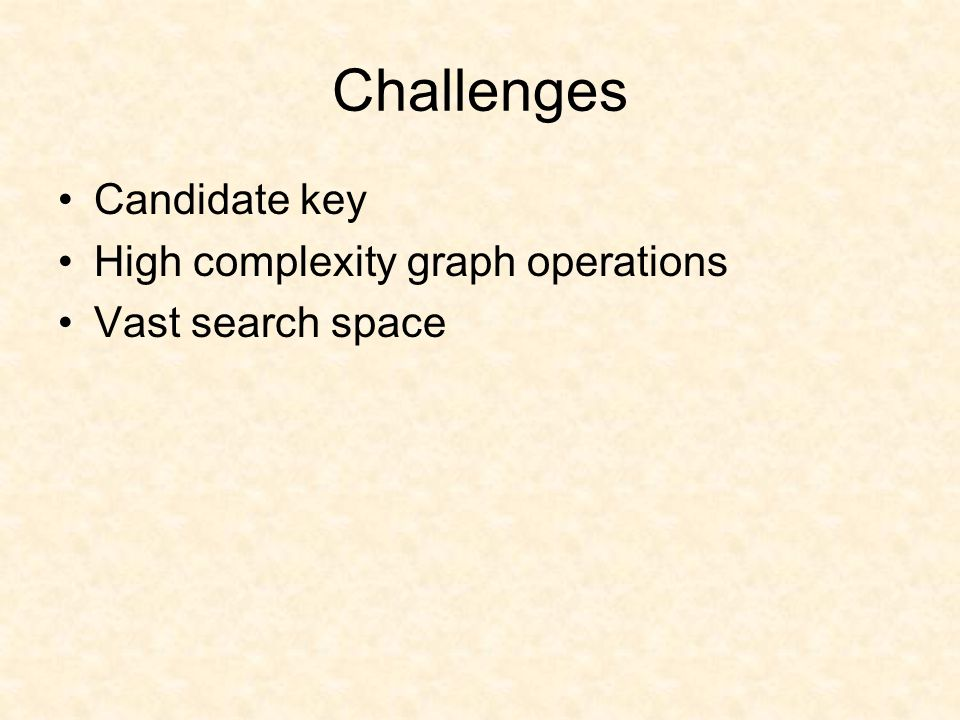 Challenges Candidate key High complexity graph operations Vast search space