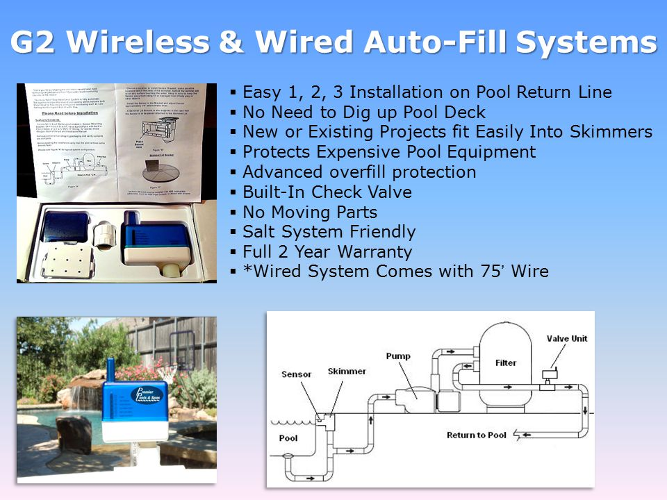 G2 Wireless & Wired Auto-Fill Systems  Easy 1, 2, 3 Installation on Pool Return Line  No Need to Dig up Pool Deck  New or Existing Projects fit Easily Into Skimmers  Protects Expensive Pool Equipment  Advanced overfill protection  Built-In Check Valve  No Moving Parts  Salt System Friendly  Full 2 Year Warranty  *Wired System Comes with 75' Wire