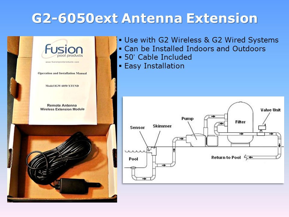 G2-6050ext Antenna Extension  Use with G2 Wireless & G2 Wired Systems  Can be Installed Indoors and Outdoors  50' Cable Included  Easy Installatio