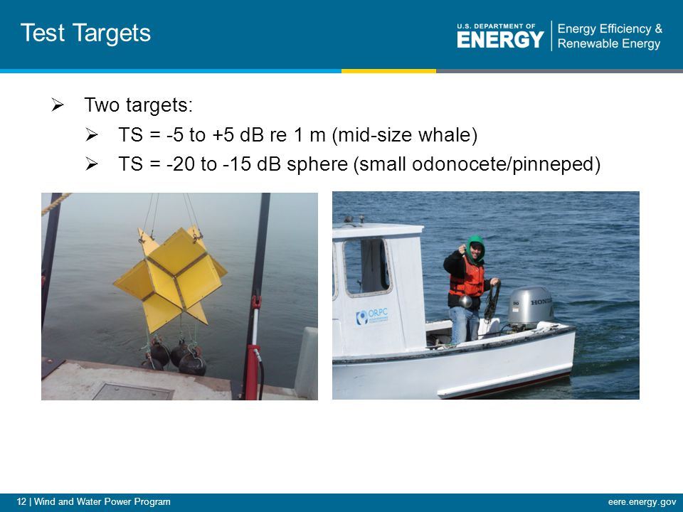 12 | Wind and Water Power Programeere.energy.gov Test Targets  Two targets:  TS = -5 to +5 dB re 1 m (mid-size whale)  TS = -20 to -15 dB sphere (small odonocete/pinneped)