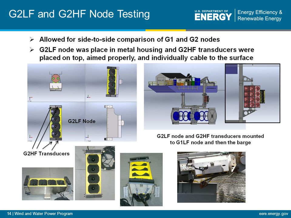 14 | Wind and Water Power Programeere.energy.gov G2LF and G2HF Node Testing