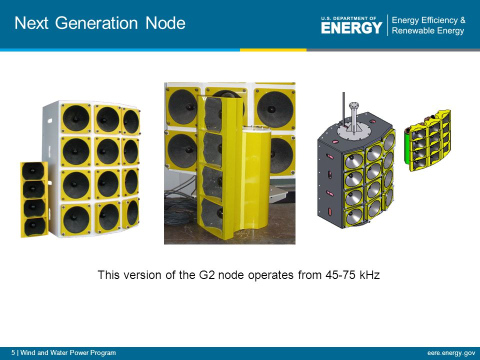 5 | Wind and Water Power Programeere.energy.gov Next Generation Node This version of the G2 node operates from 45-75 kHz