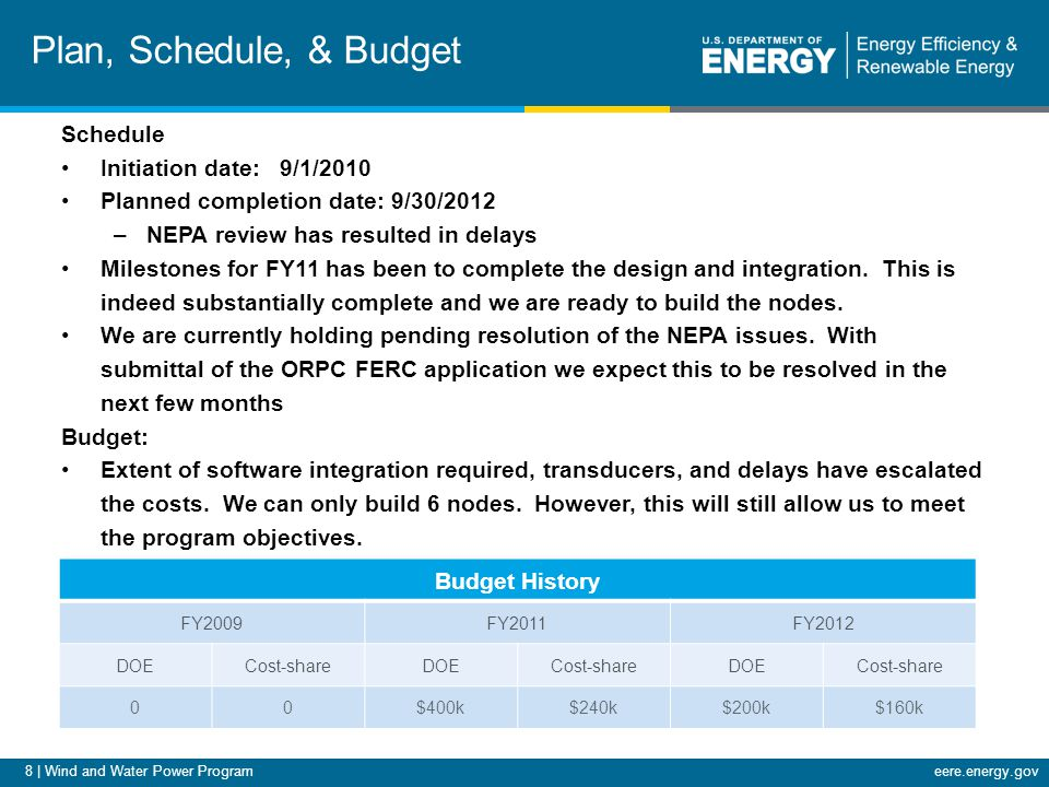 8 | Wind and Water Power Programeere.energy.gov Plan, Schedule, & Budget Schedule Initiation date: 9/1/2010 Planned completion date: 9/30/2012 –NEPA review has resulted in delays Milestones for FY11 has been to complete the design and integration.