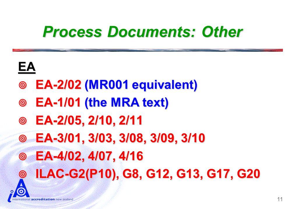 11 Process Documents: Other EA  EA-2/02 (MR001 equivalent)  EA-1/01 (the MRA text)  EA-2/05, 2/10, 2/11  EA-3/01, 3/03, 3/08, 3/09, 3/10  EA-4/02, 4/07, 4/16  ILAC-G2(P10), G8, G12, G13, G17, G20