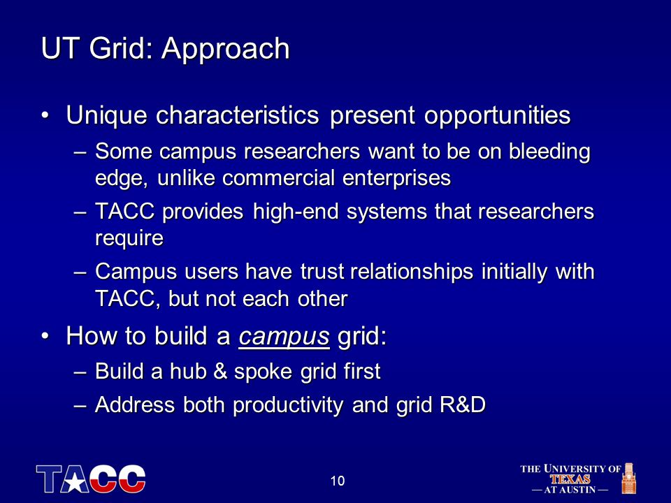 10 UT Grid: Approach Unique characteristics present opportunitiesUnique characteristics present opportunities –Some campus researchers want to be on bleeding edge, unlike commercial enterprises –TACC provides high-end systems that researchers require –Campus users have trust relationships initially with TACC, but not each other How to build a campus grid:How to build a campus grid: –Build a hub & spoke grid first –Address both productivity and grid R&D