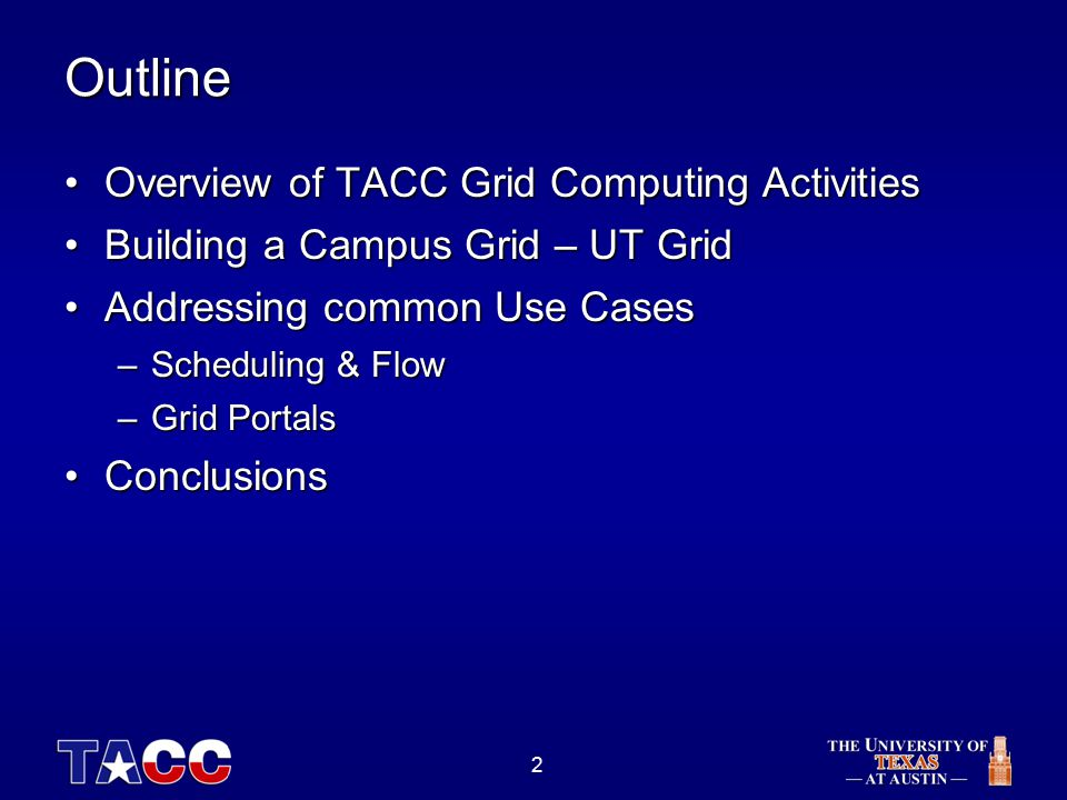 3 TACC Grid Program Building Grids at TACCBuilding Grids at TACC –Campus Grid (UT Grid) –State Grid (TIGRE) –National Grid (ETF) Grid Hardware ResourcesGrid Hardware Resources –Wide range of hardware resources available to research community at UT and partners Grid Software ResourcesGrid Software Resources –NMI Components, NPACKage –User Portals, GridPort –Job schedulers: LSF Multicluster, Community Scheduling Framework –United Devices (desktop grids) Significantly leveraging NMI Components and experienceSignificantly leveraging NMI Components and experience