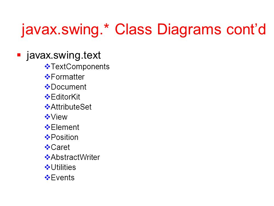 javax.swing.* Class Diagrams cont'd  javax.swing.text  TextComponents  Formatter  Document  EditorKit  AttributeSet  View  Element  Position  Caret  AbstractWriter  Utilities  Events