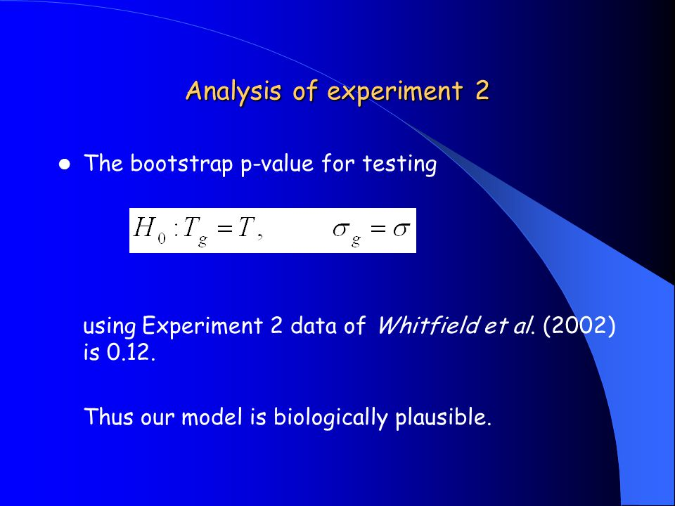 Analysis of experiment 2 The bootstrap p-value for testing using Experiment 2 data of Whitfield et al.