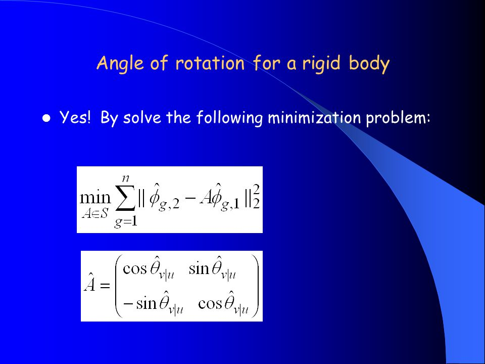 Angle of rotation for a rigid body Yes! By solve the following minimization problem: