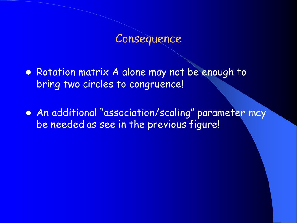Consequence Rotation matrix A alone may not be enough to bring two circles to congruence.
