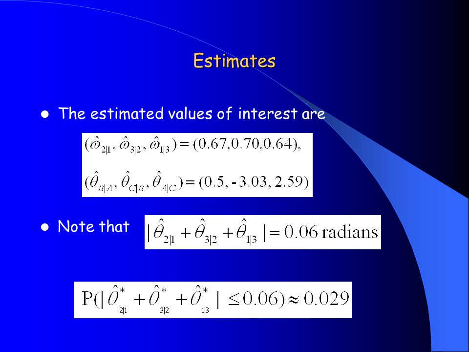 Estimates The estimated values of interest are Note that