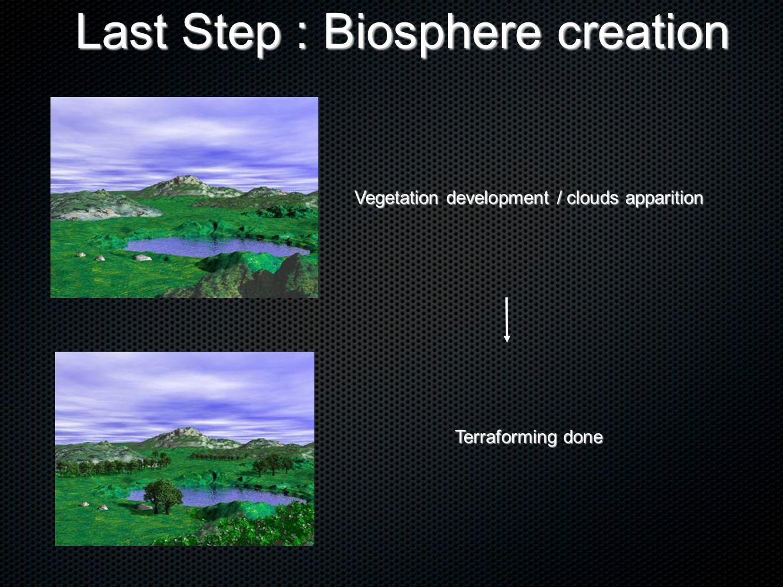 Vegetation development / clouds apparition Terraforming done Last Step : Biosphere creation