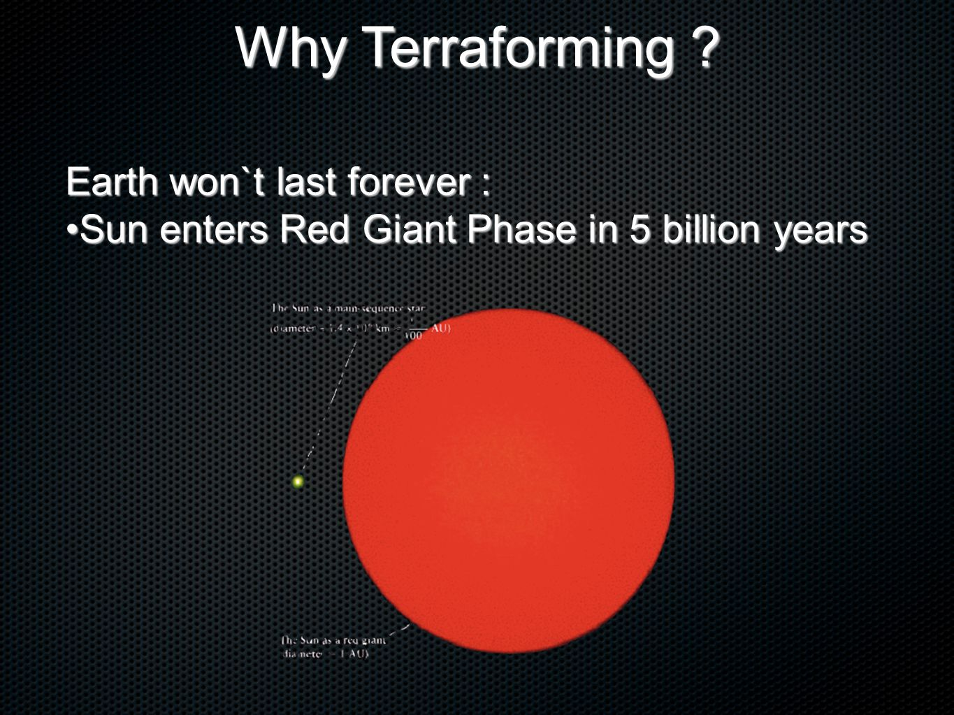 Earth won`t last forever : Sun enters Red Giant Phase in 5 billion yearsSun enters Red Giant Phase in 5 billion years Why Terraforming