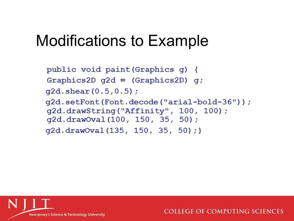 Modifications to Example public void paint(Graphics g) { Graphics2D g2d = (Graphics2D) g; g2d.shear(0.5,0.5); g2d.setFont(Font.decode(