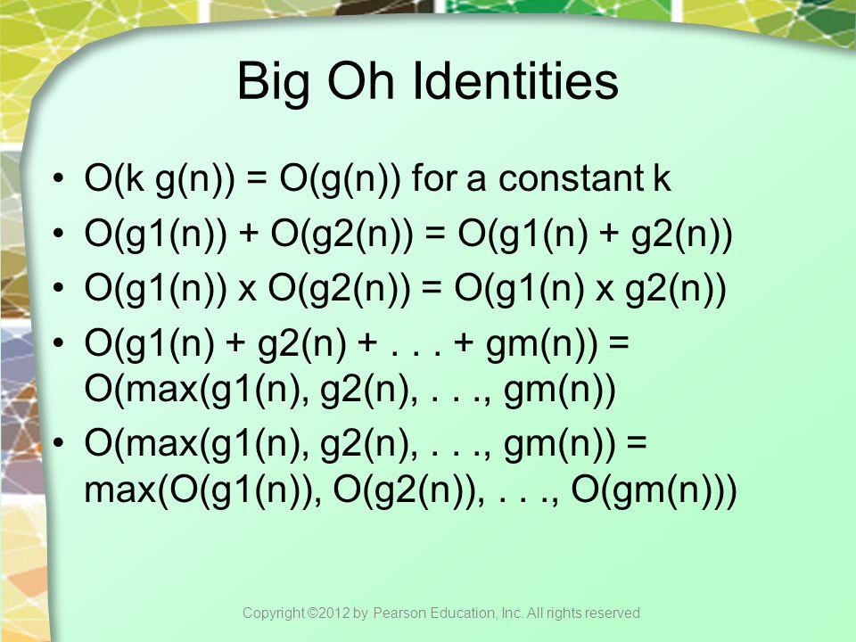 Big Oh Identities O(k g(n)) = O(g(n)) for a constant k O(g1(n)) + O(g2(n)) = O(g1(n) + g2(n)) O(g1(n)) x O(g2(n)) = O(g1(n) x g2(n)) O(g1(n) + g2(n) +...