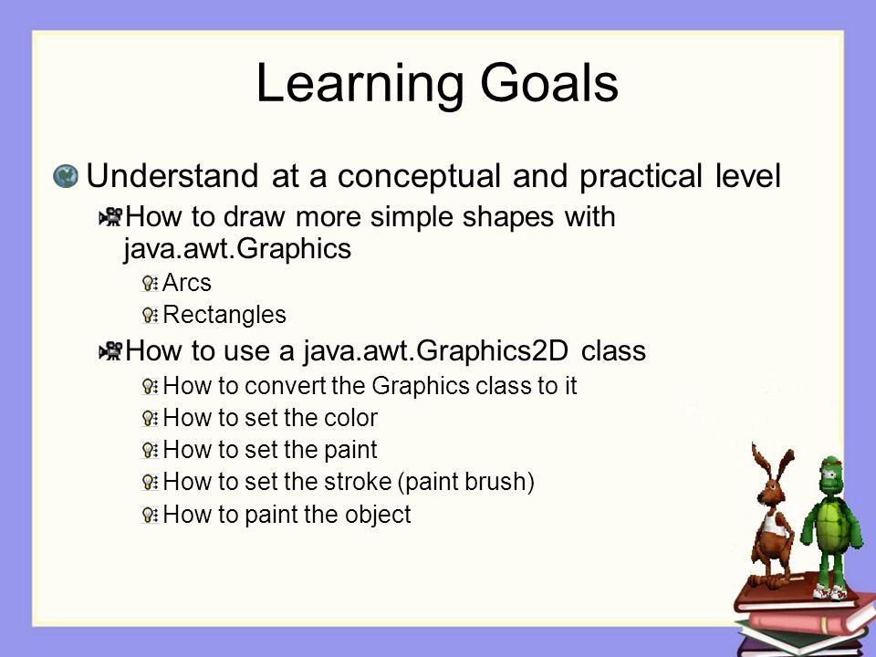 Drawing Arcs Arcs Outlined Arc g.drawArc(topLeftX, topLeftY, width, height, startAngle, arcAngle); Filled Arc g.fillArc((topLeftX, topLeftY, width, height, startAngle, arcAngle);