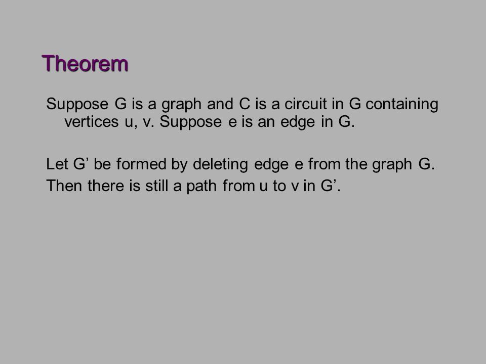 Theorem Suppose G is a graph and C is a circuit in G containing vertices u, v.