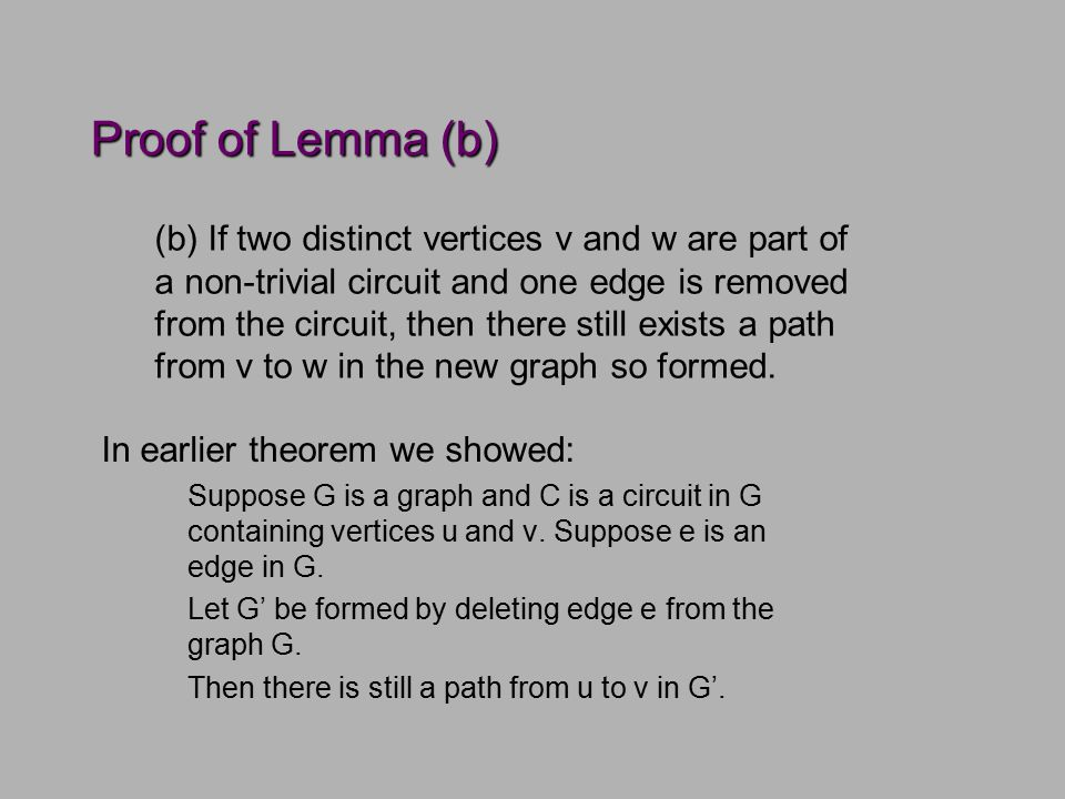 Proof of Lemma (b) In earlier theorem we showed: Suppose G is a graph and C is a circuit in G containing vertices u and v.