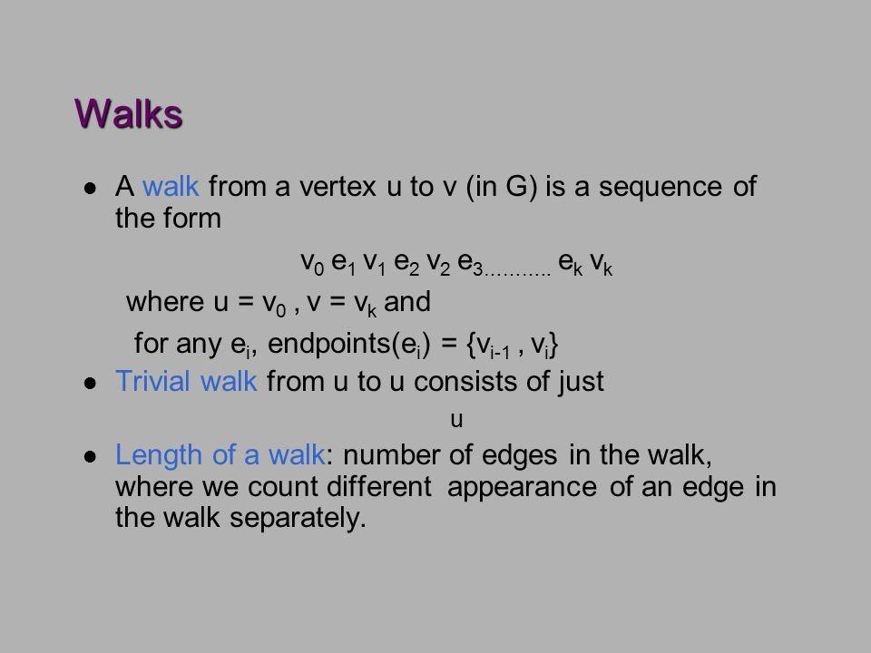 Walks l A walk from a vertex u to v (in G) is a sequence of the form v 0 e 1 v 1 e 2 v 2 e 3………..