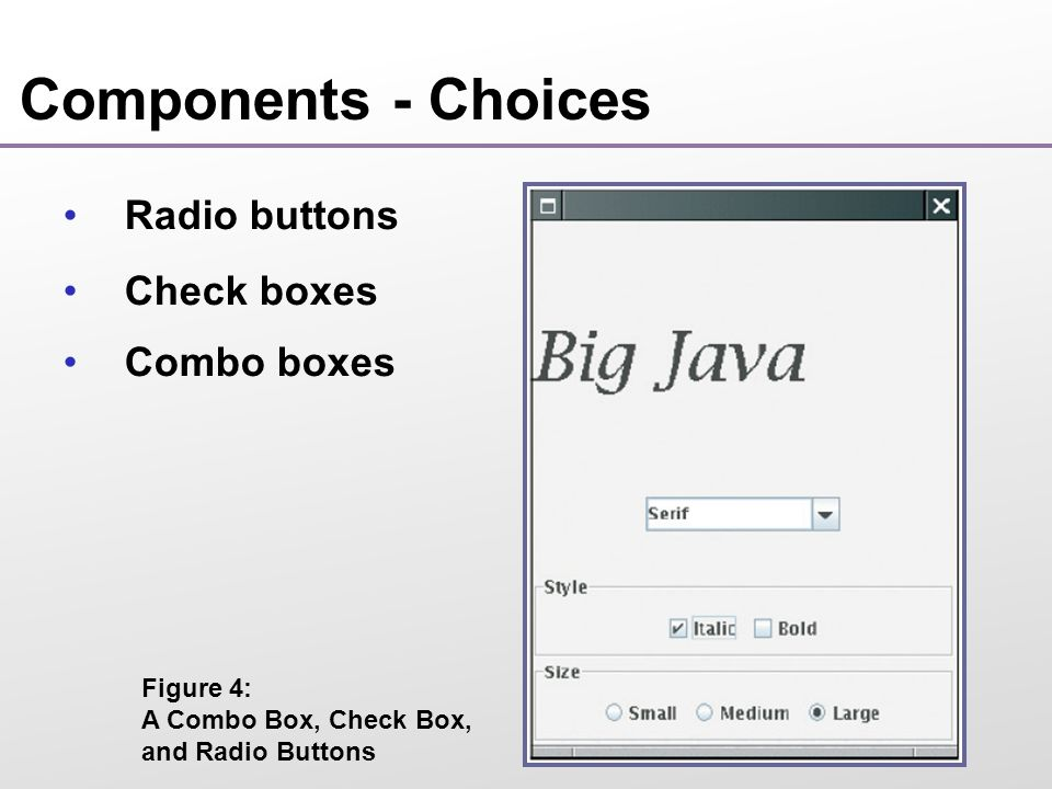 Components - Choices Radio buttons Check boxes Combo boxes Figure 4: A Combo Box, Check Box, and Radio Buttons