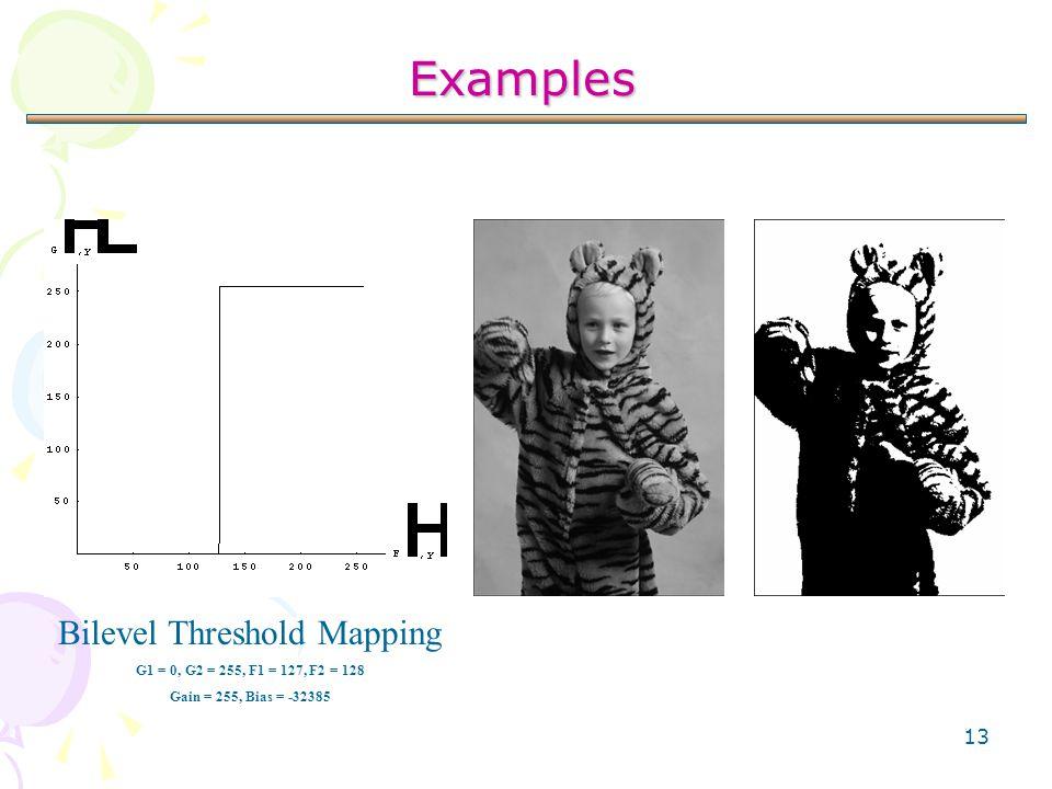 13 Examples Bilevel Threshold Mapping G1 = 0, G2 = 255, F1 = 127, F2 = 128 Gain = 255, Bias = -32385