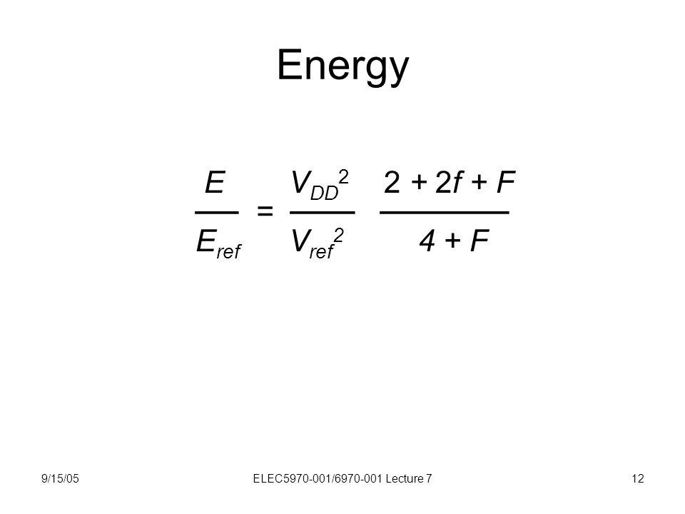 9/15/05ELEC5970-001/6970-001 Lecture 712 Energy E V DD 2 2 + 2f + F ── = ─── ────── E ref V ref 2 4 + F