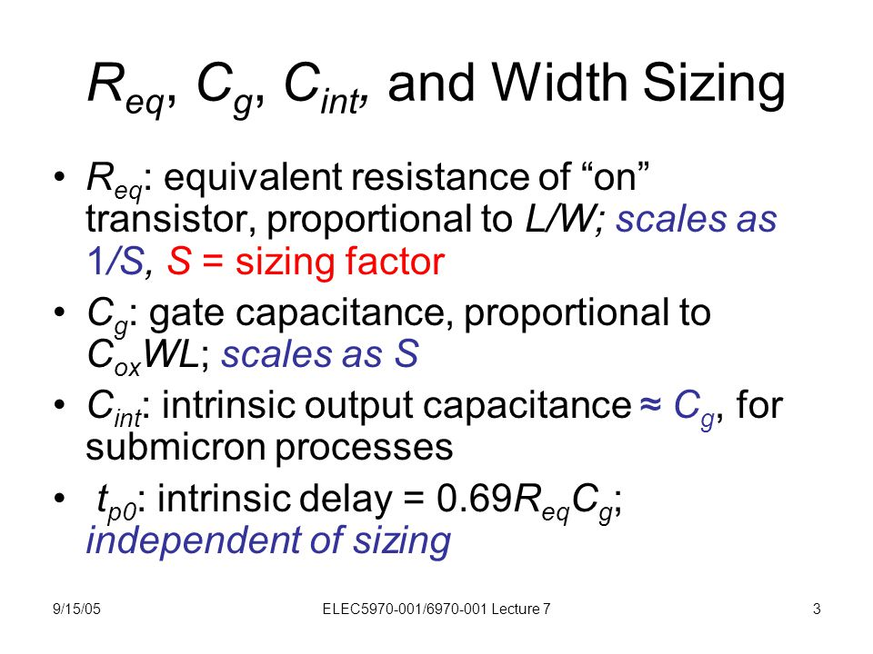 """9/15/05ELEC5970-001/6970-001 Lecture 73 R eq, C g, C int, and Width Sizing R eq : equivalent resistance of """"on"""" transistor, proportional to L/W; scale"""