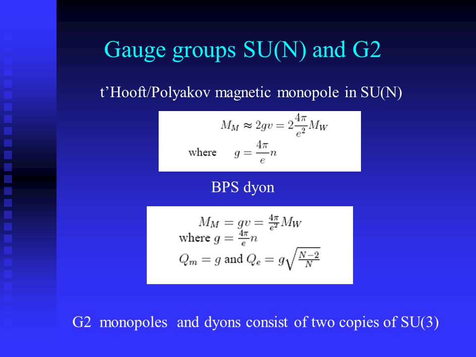 Gauge groups SU(N) and G2 t'Hooft/Polyakov magnetic monopole in SU(N) BPS dyon G2 monopoles and dyons consist of two copies of SU(3)