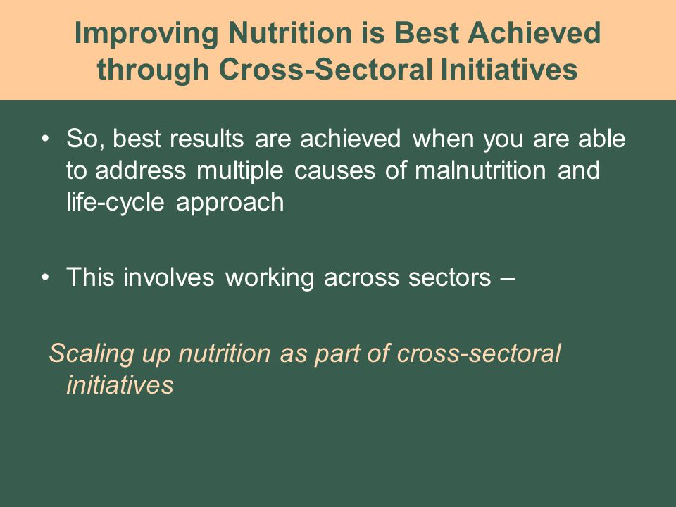 Improving Nutrition is Best Achieved through Cross-Sectoral Initiatives So, best results are achieved when you are able to address multiple causes of malnutrition and life-cycle approach This involves working across sectors – Scaling up nutrition as part of cross-sectoral initiatives