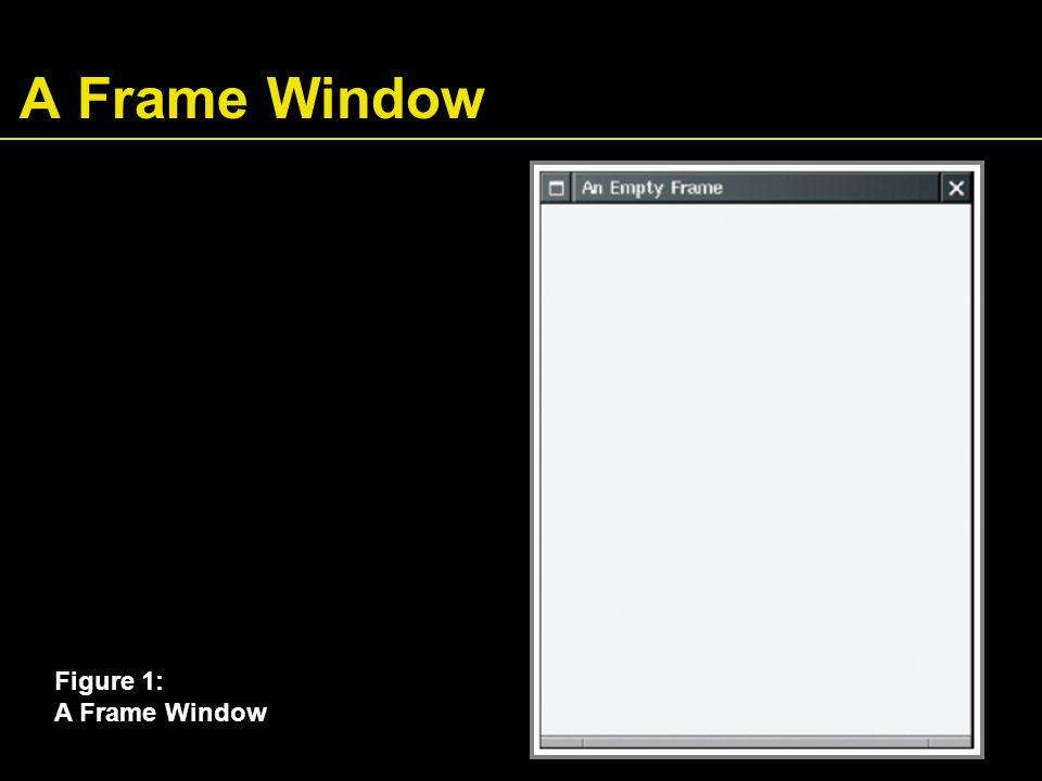 File EmptyFrameViewer.java 01: import javax.swing.*; 02: 03: public class EmptyFrameViewer 04: { 05: public static void main(String[] args) 06: { 07: JFrame frame = new JFrame(); 08: 09: final int FRAME_WIDTH = 300; 10: final int FRAME_HEIGHT = 400; 11: 12: frame.setSize(FRAME_WIDTH, FRAME_HEIGHT); 13: frame.setTitle( An Empty Frame ); 14: frame.setDefaultCloseOperation(JFrame.EXIT_ON_CLOSE); 15: 16: frame.setVisible(true); 17: } 18: }