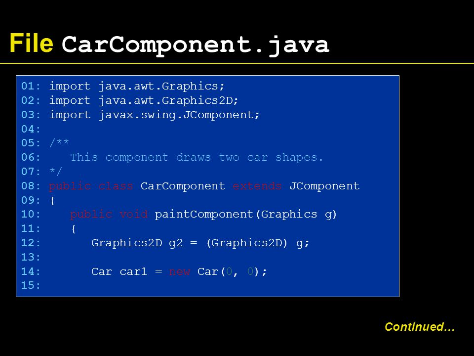 File CarComponent.java 01: import java.awt.Graphics; 02: import java.awt.Graphics2D; 03: import javax.swing.JComponent; 04: 05: /** 06: This component draws two car shapes.