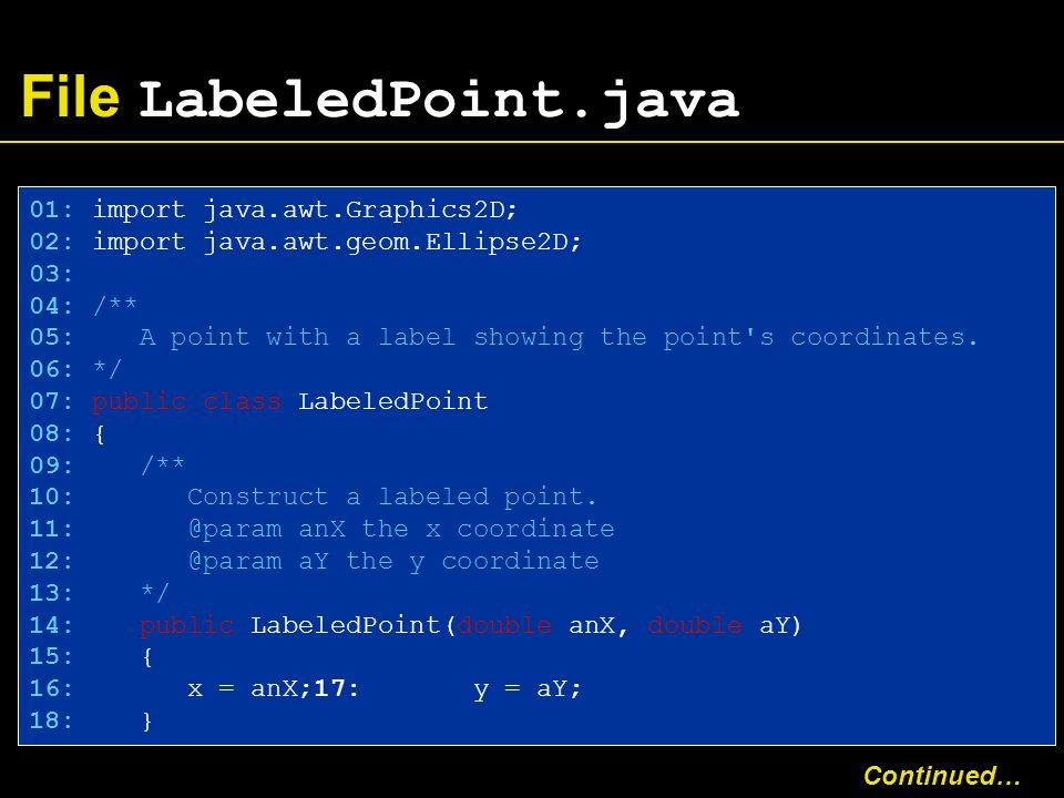File LabeledPoint.java 01: import java.awt.Graphics2D; 02: import java.awt.geom.Ellipse2D; 03: 04: /** 05: A point with a label showing the point s coordinates.