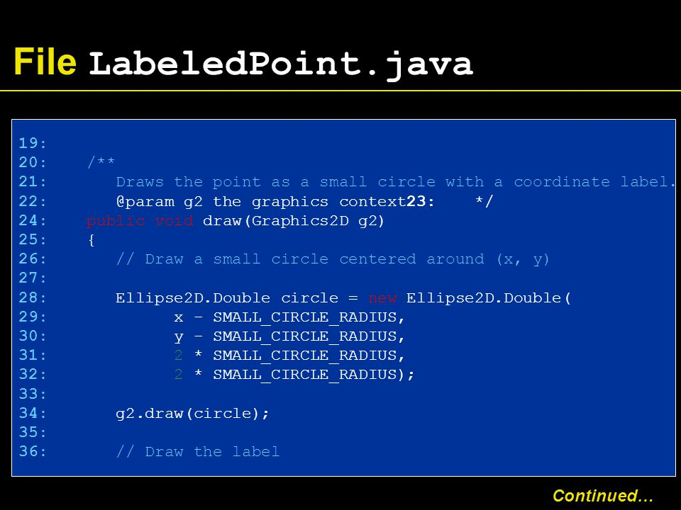 File LabeledPoint.java 19: 20: /** 21: Draws the point as a small circle with a coordinate label.